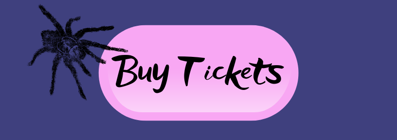 "A button that reads, ""Buy Tickets"" with a black spider"